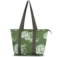Zodaca Green Turtle Large Reusable Insulated Leak Resistant Lunch Tote Carry Organizer Zip Cooler Storage Bag