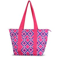 Zodaca Times Square Pink Large Reusable Insulated Leak Resistant Lunch Tote Carry Organizer Zip Cooler Storage Bag