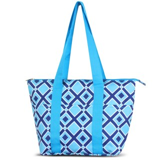 Zodaca Times Square Turquoise Large Reusable Insulated Leak Resistant Lunch Tote Carry Organizer Zip Cooler Bag