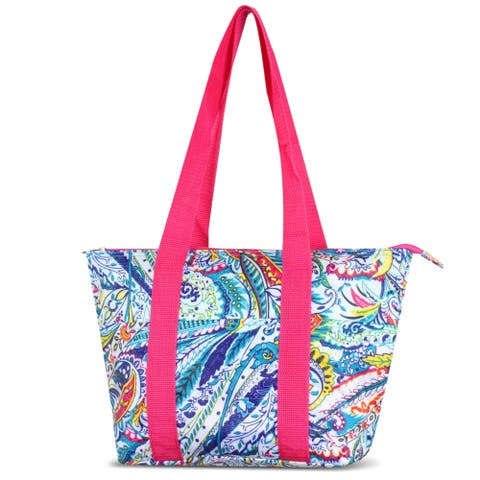 Zodaca Multicolor Paisley Large Reusable Insulated Leak Resistant Lunch Tote Carry Organizer Zip Cooler Storage Bag