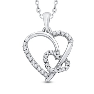 14K White Gold 1/6ct TDW Diamond Heart Pendant (J-K,I1-I2)