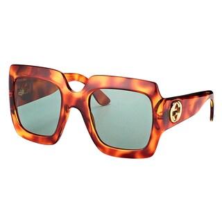 Gucci GG 0053S 002 Light Havana Plastic Square Sunglasses Green Lens