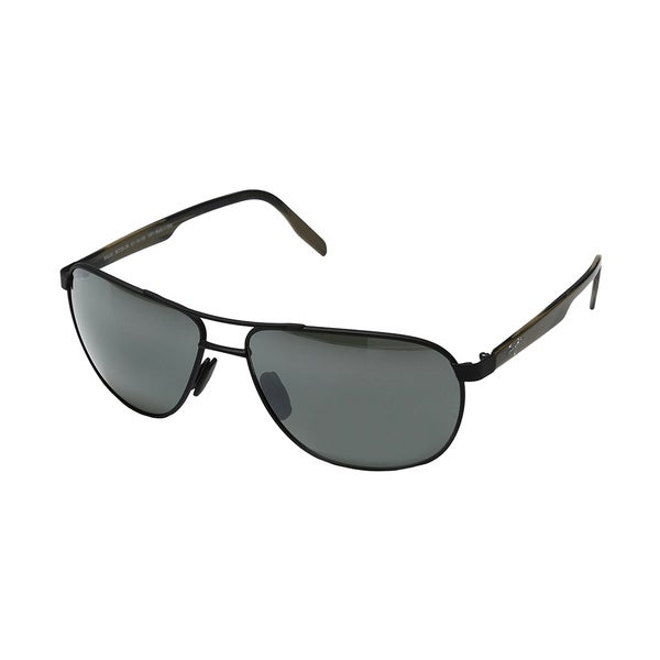 15fae4fe7f22 Maui Jim Maui 728 2M Castles Matte Black Metal Aviator Sunglasses Natural  Grey Polarized Lens