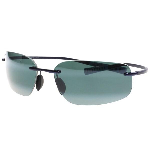 ceae113dbea9 Maui Jim Maui 742 06 Kupuna Blue Metal Rimless Sunglasses Natural Grey  Polarized Lens