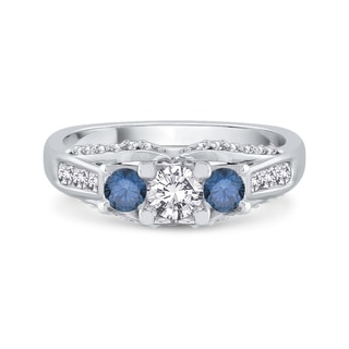 14K White Gold 1ct TDW Blue and White Diamond Engagement Ring (G-H,I1)
