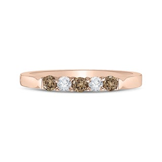 14K Rose Gold 1/4ct TDW Brown and White Diamond Wedding Band (G-H,I2-I3)