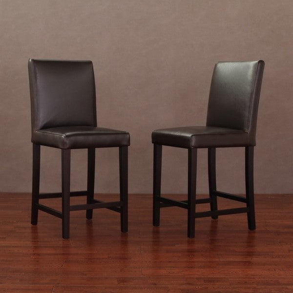 Andre 24-inch Dark Brown Leather Counter Stools (Set of 2)
