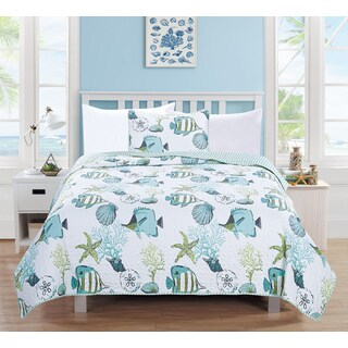 Home Fashion Designs Seaside Collection 3-Piece Coastal Theme Quilt Set