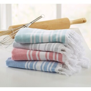 Home Fashion Designs Natasha Collection 4-Piece 100% Cotton Kitchen Towel Set with Fouta Design
