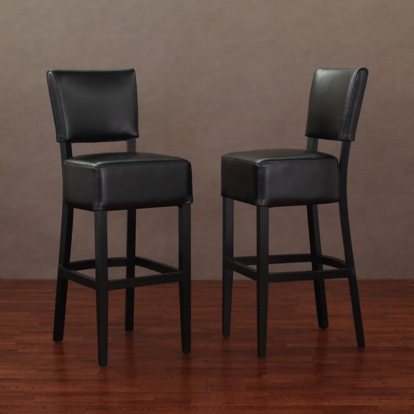 Wasatch Black Leather Barstools (Set of 2)