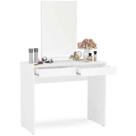 Boahaus Contemporary White Vanity Set with Dressing Table with Mirror and 2 Drawers
