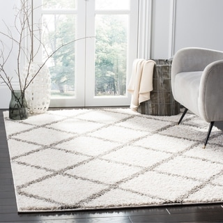Safavieh New York Shag Contemporary Geometric Ivory/ Grey Area Rug (9' x 12')