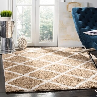 Safavieh New York Shag Contemporary Geometric Dark Beige/ Ivory Area Rug (9' x 12')
