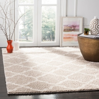 Safavieh New York Shag Contemporary Geometric Light Grey/ Ivory Area Rug (9' x 12')