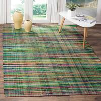Safavieh Rag Rug Transitional Stripe Hand-Woven Cotton Green/ Multi Area Rug - 9' x 12'