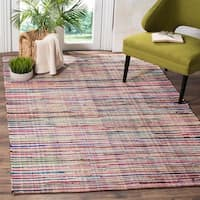 Safavieh Rag Rug Transitional Stripe Hand-Woven Cotton Ivory/ Multi Area Rug - 9' x 12'