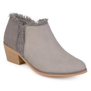 Journee Collection Women's 'Moxie' Fringe Faux Suede Ankle Booties