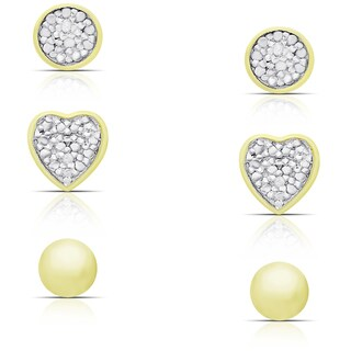 Finesque Gold over Sterling Silver Diamond Accent Circle, Heart and Ball Stud Earrings Set
