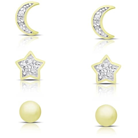 Finesque Gold over Sterling Silver Diamond Accent Moon, Star and Ball Stud Earrings Set