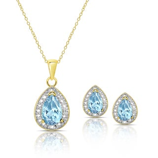 Dolce Giavonna Gold over Sterling Silver Blue Topaz and Diamond Accent Necklace and Earrings Set
