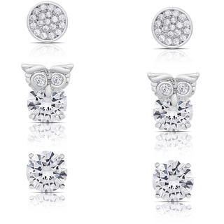 Dolce Giavonna Silver Overlay Cubic Zirconia Stud Earrings Set