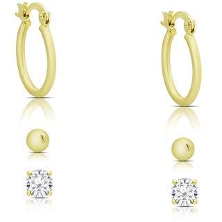 Dolce Giavonna Gold Overlay Hoop, Ball Stud and Hoop Earrings Set