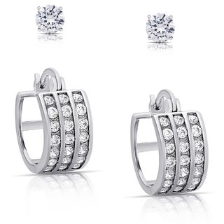 Dolce Giavonna Silver Overlay Cubic Zirconia Hoop and Stud Earrings Set