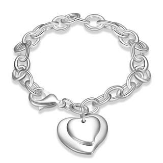 Sterling Silver Duo-Heart Shaped Clasp Bracelet