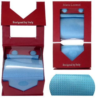 Men's Tie with Matching Handkerchief and Hand Cufflinks-Sky Blue Pulk Dotted