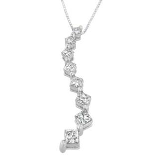 14k White Gold 2 CTTW Princess and Baguette Cut Diamond Geometric Fashion Pendant Necklace (H-I, SI2-I1)