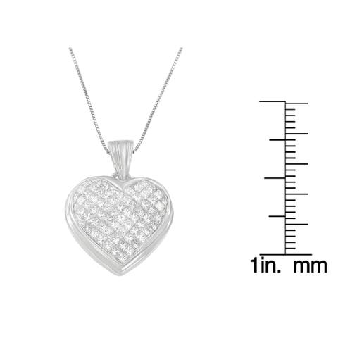 14K White Gold 2ct. TDW Princess-cut Diamond Pendant Necklace (G-H,VS1-VS2)