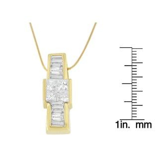 14kt Yellow Gold 1ct. TDW Baguette and Princess-cut Diamond Pendant Necklace (G-H,VS1-VS2)