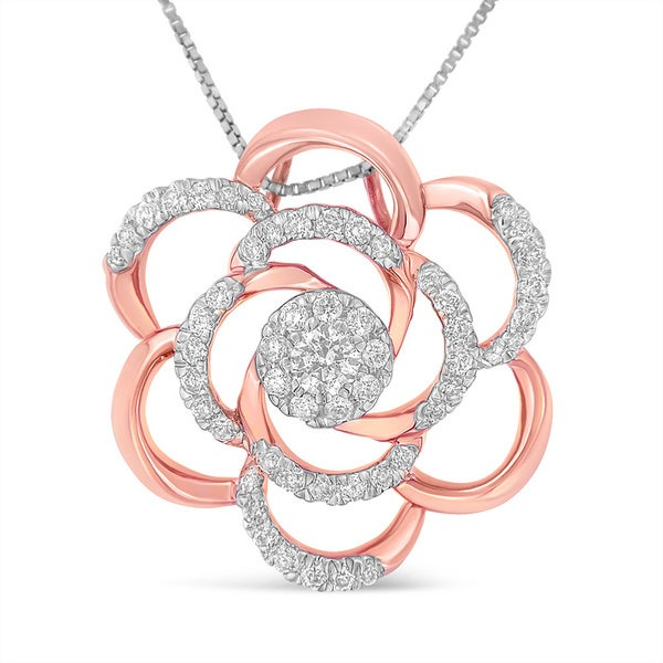 1ed879e72e93ba 10k Rose Gold Plated Flower Accent Pendant Necklace with 1/2ct. TDW Round  Cut
