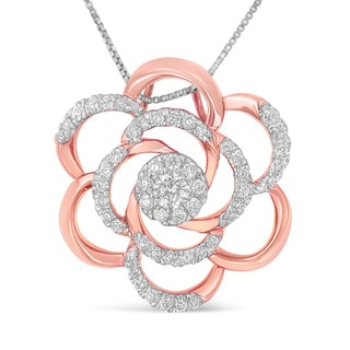 10k Rose Gold Plated Flower Accent Pendant with 1/2ct. TDW Round Cut Diamond (H-I,I1-I2)