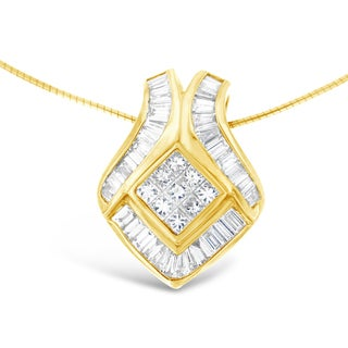14kt Yellow Gold 2 3/4 ct. TDW Baguette and Princess-cut Diamond Pendant Necklace (G-H,VS1-VS2)