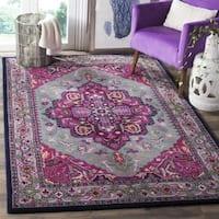 Safavieh Bellagio Contemporary Geometric Hand-Tufted Wool Grey/ Pink Area Rug - 10' x 14'