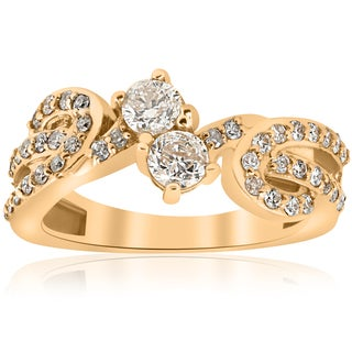 14k Yellow Gold 1 cttw Diamond Two Stone Engagement Ring (I-J, I2-I3)