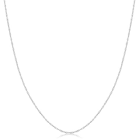 14k White Gold High Polish Cable Chain (16, 18, or 20 inch)