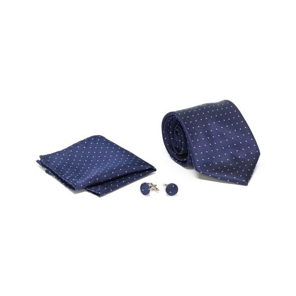 Mens Tie with Matching Handkerchief and Hand Cufflinks-Sky Blue Dotted On Navy Blue