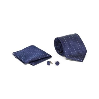 Men's Tie with Matching Handkerchief and Hand Cufflinks-Sky Blue Dotted On Navy Blue