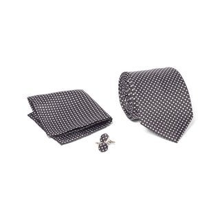 Men's Tie with Matching Handkerchief and Hand Cufflinks-White Multi Dotted On Black