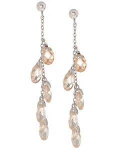 Icz Stonez Sterling Silver Champagne and Clear CZ Dangle Earrings