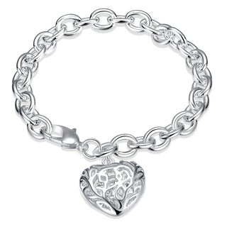 Hakbaho Jewelry Sterling Silver Laser Cut Heart Shaped Bracelet