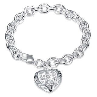 Hakbaho Jewelry Sterling Silver Laser Cut Heart Shaped Bracelet
