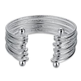 Hakbaho Jewelry Sterling Silver Multi Thin Lined Open Bangle