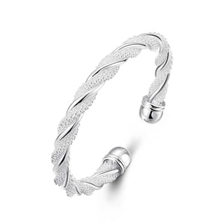 Hakbaho Jewelry Sterling Silver Intertwined Mesh Bangle|https://ak1.ostkcdn.com/images/products/16529292/P22864940.jpg?impolicy=medium
