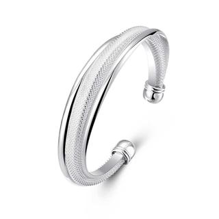 Hakbaho Jewelry Sterling Silver Duo-Toned Mesh Bangle