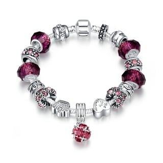 Hakbaho Jewelry 50 Shades of Pink Charm Omega Chain Bracelet
