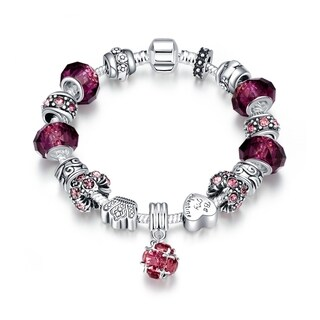 Hakbaho Jewelry 50 Shades of Pink Charm Omega Chain Bracelet