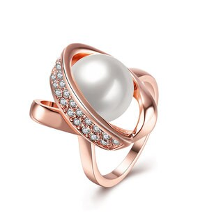 Hakbaho Jewelry Rose Gold Plated Faux Pearl Twisted Center Ring